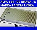 FILTR KABINY PRZECIWPYŁKOWY WĘGLOWY ALFA ROMEO 156 -02 FIAT BRAVA -O MAREA IDEA LANCIA LYBRA