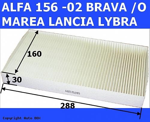 FILTR KABINY PRZECIWPYŁKOWY ALFA ROMEO 156 -02 FIAT BRAVA -O MAREA IDEA LANCIA LYBRA